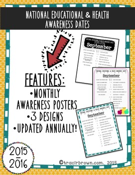 National Educational and Health Awareness Dates: Monthly Posters