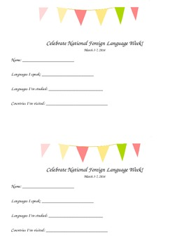 National Foreign Language Week School Wide Activity