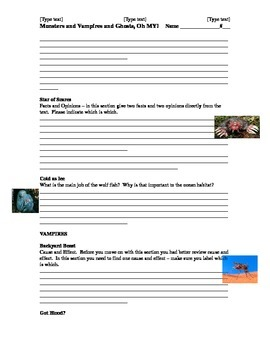 "National Geographic Common Core Questions ""Dive In"" Monsters Vampire Article"