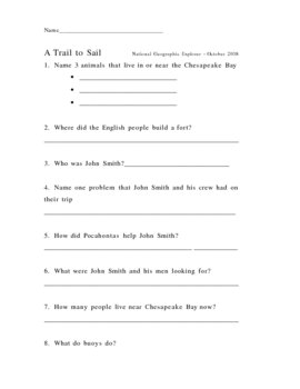 "National Geographic Explorer - ""A Trail to Sail"" Comprehension Check"