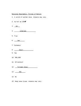 National Geographic - Forces of Nature Video Worksheet with Answer Key