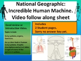 National Geographic Incredible Human Machine (Body Systems) video sheet.