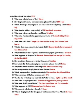 "National Geographic ""Inside Mecca"" movie worksheet and key"