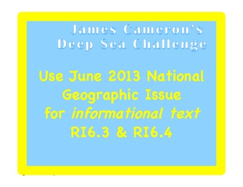 National Geographic Article: working with informational text & CCStandards