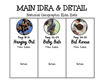 National Geographic Kids Bats Main Idea and Detail
