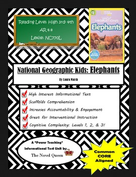 National Geographic Kids Elephants Informational Text Unit
