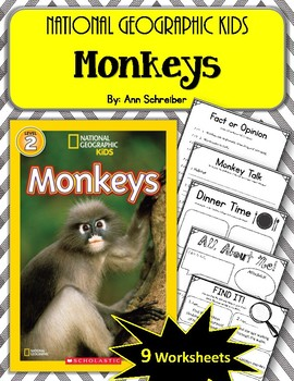 National Geographic Kids- Monkeys.  9 Worksheets! Scholastic.