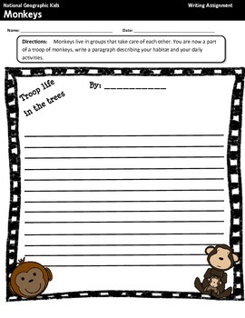 National Geographic Kids Monkeys {Nonfiction Comprehension Guide}