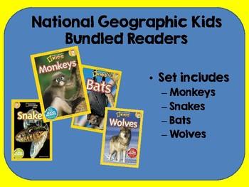National Geographic Kids Readers Monkeys Snakes Bats Wolves Bundled Set