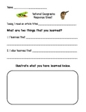 National Geographic Kids Response Sheet