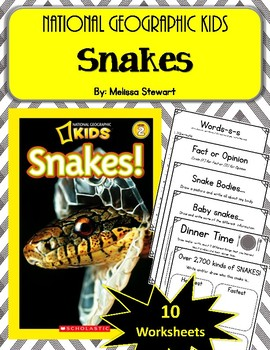 National Geographic Kids- Snakes.  10 Worksheets! Scholastic.
