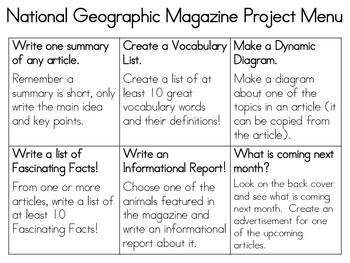 Classroom Magazine Project Menu--FREE
