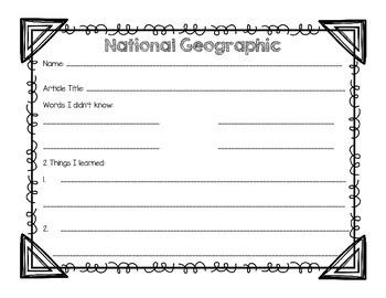 National Geographic Organizer {Freebie}