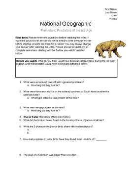 National Geographic - Prehistoric Predators of Ice Age North America Video Sheet