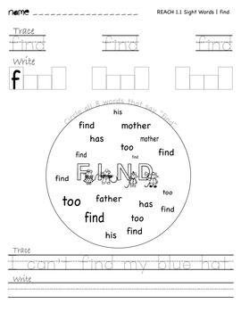 National Geographic REACH Sight Word Unit 1 Section 1 | Find