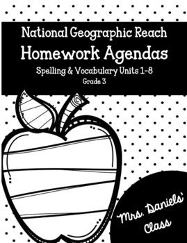 National Geographic Reach Homework Agendas Units 1-8 Grade 3