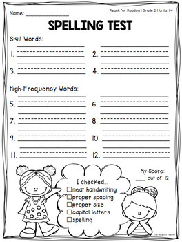 National Geographic {Reach for Reading} Spelling Templates for 2nd Grade