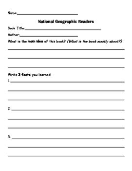 National Geographic Reader worksheet