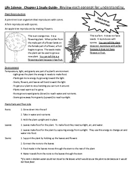 National Geographic Science Third Grade Life Science Chapter 1 Study Guide