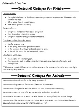 National Geographic Science Third Grade Life Science Chapter 3 Study Guide