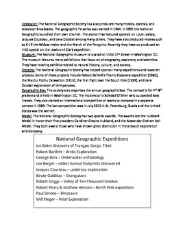 National Geographic Society - Review Article Questions Vocabulary Activities