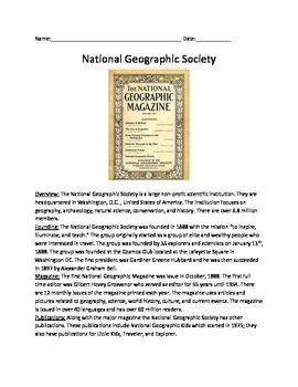 National Geographic Society - Review Article Questions Voc
