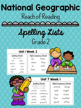 National Geographic Spelling Lists Grade 2