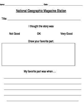 National Geographic Station Reflection Sheet