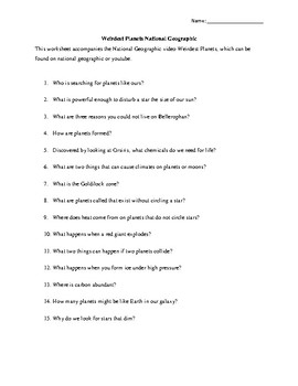 National Geographic Weird Planets Video Worksheet