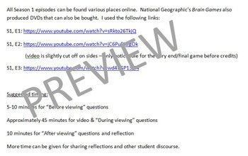 Brain Games from National Geographic: Worksheets  (Easy Sub Plans!)