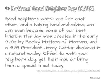 National Good Neighbor Day Coloring Page by Addition Fact Strategy