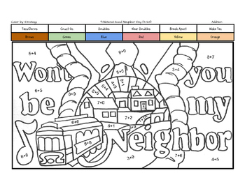 National Good Neighbor Day Coloring Page by Addition Fact
