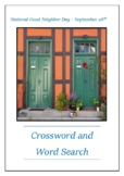 National Good Neighbor Day - September 28th Crossword Puzzle Word Search Bell