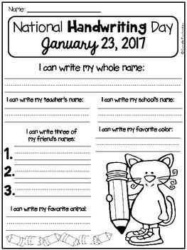 National Handwriting Day FREEBIE