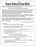 National Hispanic Heritage Month: Reading & Substitute Plan for Spanish Class