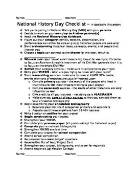 National History Day - General Checklist and All Category Checklists