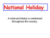 National Holidays