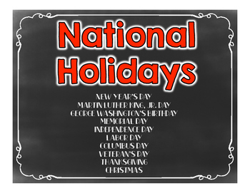 National Holidays Booklet