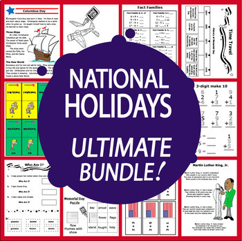 National Holidays Math and Literacy MEGA Bundle