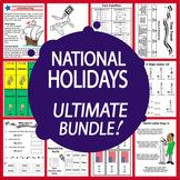 National Holidays Math & Literacy MEGA Bundle (12 American Holidays Units)