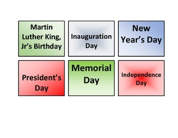 National Holidays: File Folder
