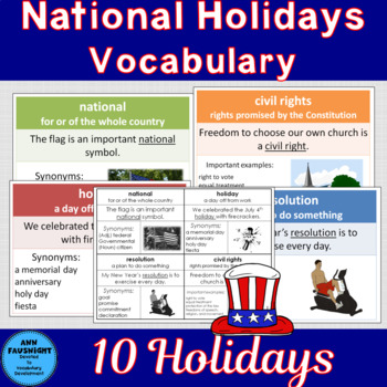 National Holidays Word Cards with Word of the Day Cards Set 7 Combo