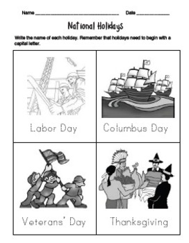 National Holidays Worksheets