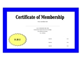 National Junior Honor Society Certificate