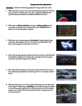National Lampoon's Christmas Vacation Film (1989) Study Guide Movie Packet