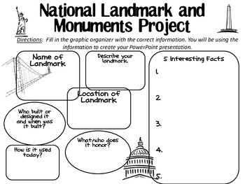 National Landmarks and Monuments graphic organizer