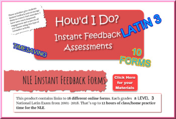 National Latin Exam Level 3 : 10 Self-Grading Answer Forms (2009-18)
