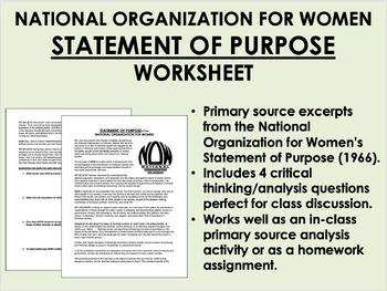 """Statement of Purpose"" - National Organization for Women - Women's Liberation"