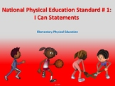 National PE Standard 1: I Can Statements