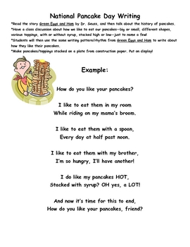 National Pancake Day Writing Activity